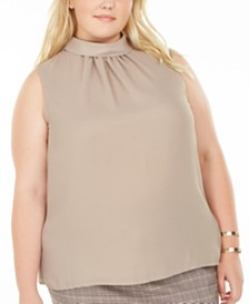 Bar III Plus Size Pleated Mock Neck Sleeveless Top, Created For Macy's