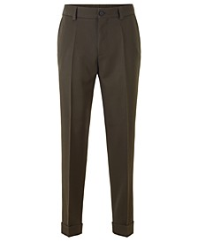 BOSS Men's Perin1 Cropped Relaxed-Fit Virgin Wool Trousers