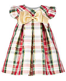 Bonnie Baby Baby Girls Metallic Plaid Trapeze Dress
