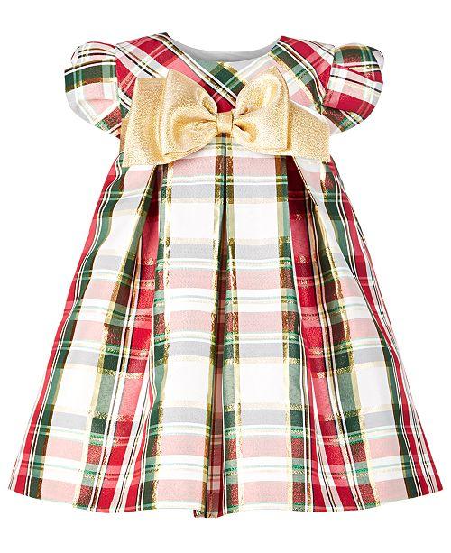 Bonnie Baby Baby Girls Metallic Plaid Trapeze Dress
