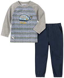 Little Boys 2-Pc. Stripe Helicopter Appliqué T-Shirt & Twill Joggers Set