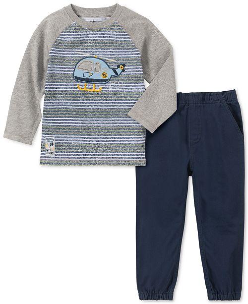 Kids Headquarters Little Boys 2-Pc. Stripe Helicopter Appliqué T-Shirt & Twill Joggers Set
