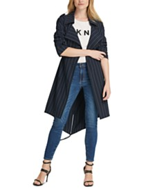 DKNY Pinstriped Trench Coat