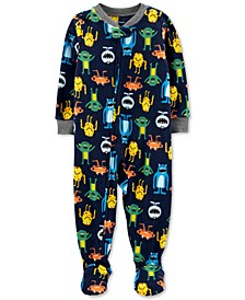 Baby Boys 1-Pc. Monster-Print Fleece Footed Pajamas