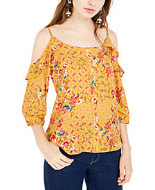 Hippie Rose Juniors' Ruffle-Trimmed Cold-Shoulder Top