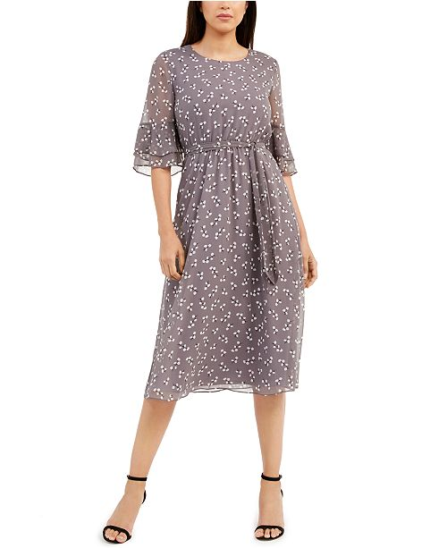 Anne Klein Printed Tie-Neck Dress