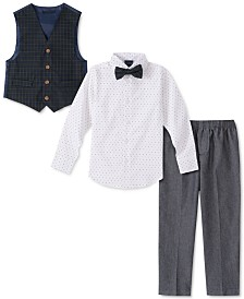 Nautica Baby Boys 4-Pc. Bowtie, Dot-Print Shirt, Vest & Pants Set