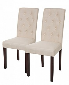 Fabric Dining Chair with Tufted Back Set of 2