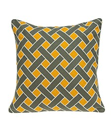 Kain Transitional Grey and Orange Pillow Cover
