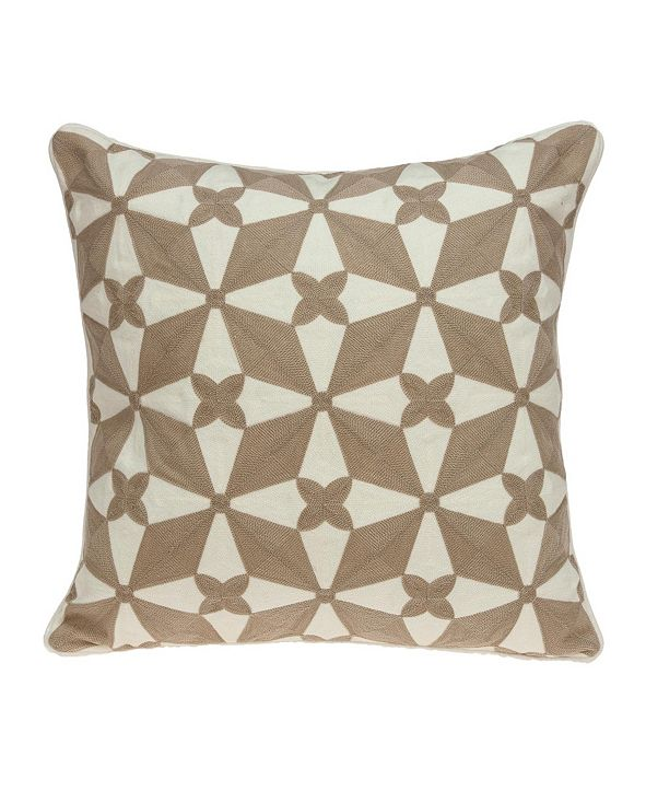 Parkland Collection Algol Transitional Beige and White Pillow Cover With Down Insert