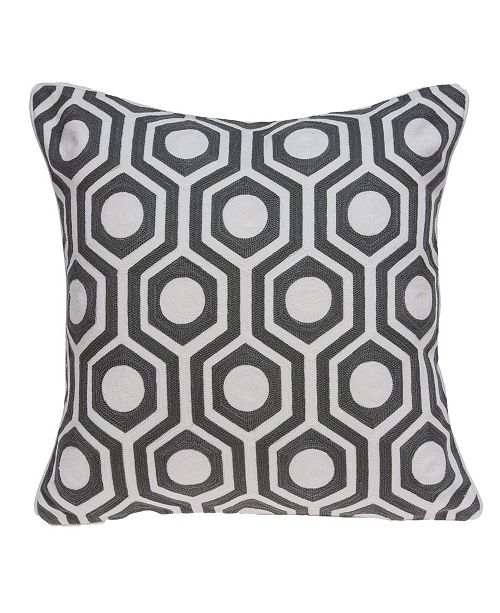 Parkland Collection Ursae Traditional Grey and White Pillow Cover with Polyester Insert
