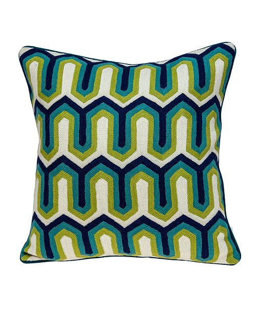 Parkland Collection Handmade Monte Transitional Multicolored Pillow Cover With Down Insert
