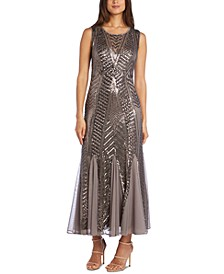 Godet Sequin Midi Dress