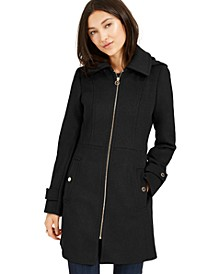 Petite Hooded Stand-Collar Coat, Created For Macy's