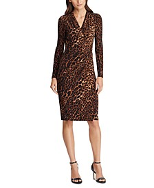Ocelot-Print Pleated Jersey Dress