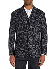 Men's Slim-Fit Stretch Camo Print Knit Blazer