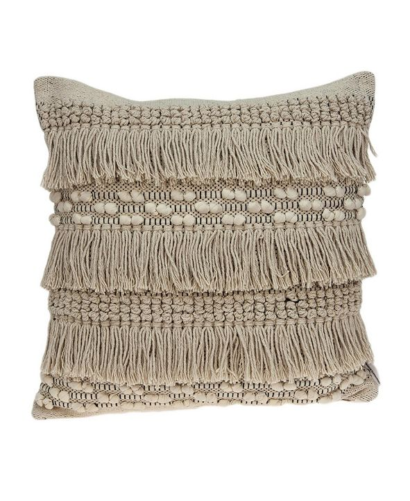 Parkland Collection Paloma Bohemian Beige Pillow Cover with Polyester Insert
