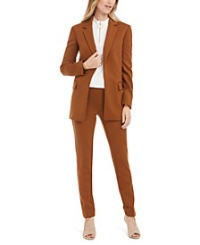 Open-Front Blazer, Mock-Neck Top & Ankle Pants