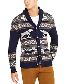 Men's Regular-Fit Pointing Dog Geometric Cardigan, Created For Macy's
