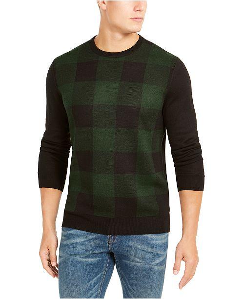 Club Room Men's Plaid Merino Wool Blend Sweater, Created for Macy's