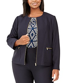 Plus Size Zip-Front Jacket
