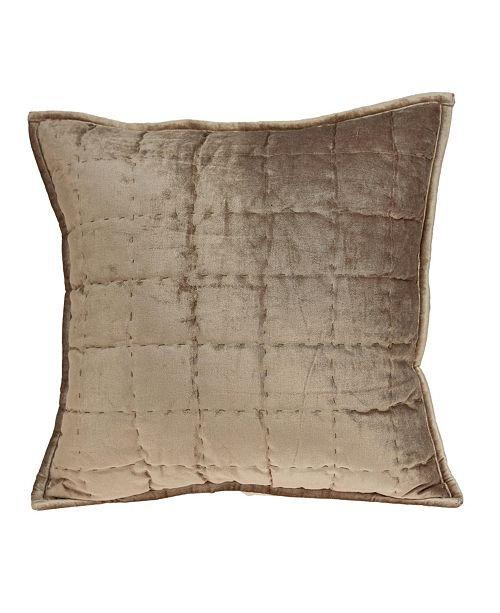 Parkland Collection Byblo Transitional Taupe Solid Quilted Pillow Cover with Polyester Insert