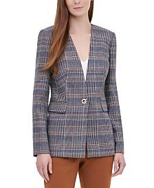 Calvin Klein Plaid Tweed Blazer