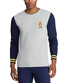 Men's Tall Embroidered Waffle Crewneck Sleep Shirt, Created for Macy's