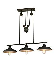 Lighting Iron Hill Three-Light Indoor Island Pulley Pendant