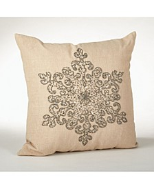 "Snowflake Design Beaded Pillow, 18"" x 18"""