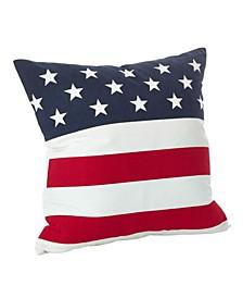 "Star Spangled American Flag Design Cotton Throw Pillow, 20"" x 20"""