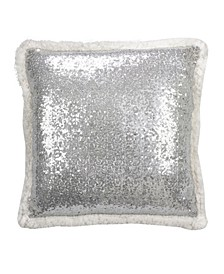 """Glittery Sequin with Sherpa Trim Polyester Filled Throw Pillow, 18"""" x 18"""""""
