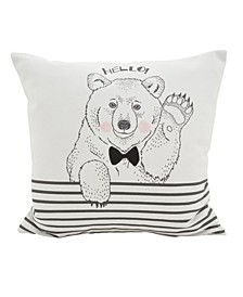 """Hello Bear Statement Polyester Filled Throw Pillow, 16"""" x 16"""""""