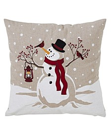 "Christmas Snowman Design Throw Pillow, 18"" x 18"""