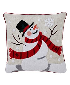 "Polyester Blend Accent Pillow with Jolly Snowman Design, 16"" x 16"""
