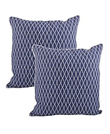 "Ikat Design Cotton Pillow - Cover Only, Set of 2, 18"" x 18"""