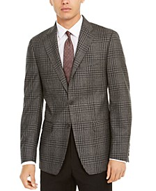 Men's Slim-Fit Plaid Wool Sport Coat