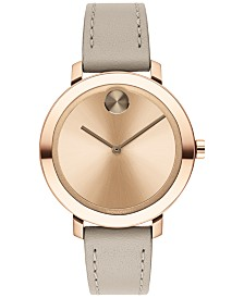Movado Women's Evolution Swiss BOLD Gray Leather Strap Watch 34mm