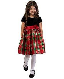 Toddler Girls Velvet & Plaid Dress
