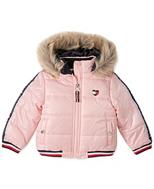Baby Girls Hooded Puffer Jacket With Faux-Fur Trim