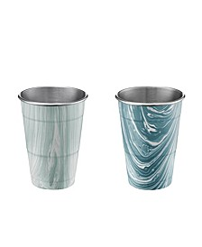 18oz Blue Marble Stainless Steel All Purpose Cups - Set of 2