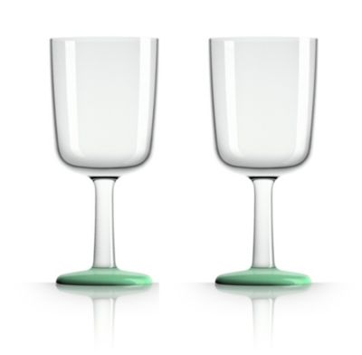by Palm Tritan Forever-Unbreakable  Wine Glass with Green non-slip base, Set of 2