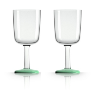 Marc Newson by Palm Tritan Wine Glass with Green non-slip base, Set of 2
