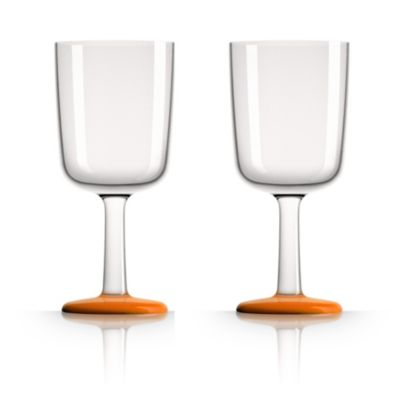 by Palm TritanForever-Unbreakable  Wine Glass with Orange non-slip base, Set of 2