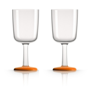Marc Newson by Palm Tritan Wine Glass with Orange non-slip base, Set of 2