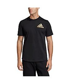 Men's Regular Fit Metallic Badge of Sport Workout T-Shirt