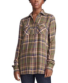 Petite Plaid Patch-Pocket Shirt