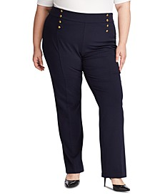 Plus Size Button-Trim Ponte Sailor Pants