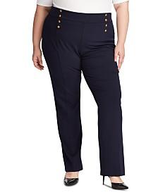 Lauren Ralph Lauren Plus Size Button-Trim Ponte Sailor Pants