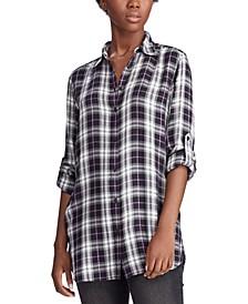 Petite Plaid-Print Shirt
